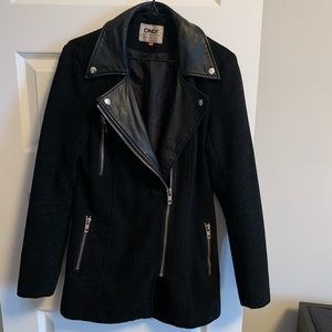 Only - Black Jacket w/ Leather and Gold Zippers